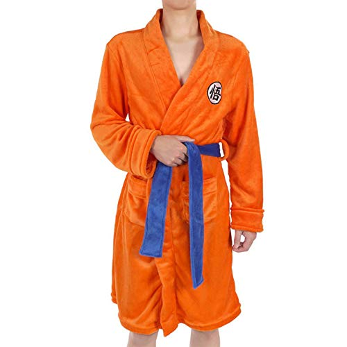 EDMKO Adult Kinder Bademantel Dragon Ball Cosplay Son Goku Kostüm Nachtwäsche Badeanzug Plüsch Robe Nacht Schlafanzug Frauen Männer Anime Pyjamas,S/M