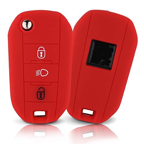 Tapa de la Llave Hecha de Silicona Premium Compatible con Peugeot, Funda Protectora para Llaves de Coche Cubierta para el Tipo de Clave 3BKB-b - Rojo