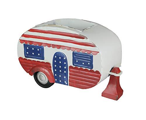 Pflanzgefäß, Vintage-Camper, handbemalt, Rot / Weiß / Blau