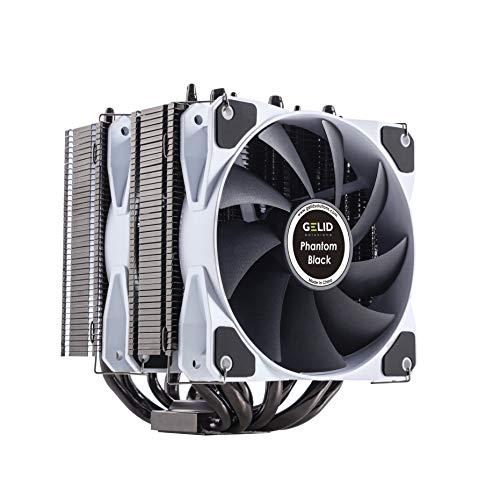 Gelid Solutions Phantom Black - Disipador térmico de Torre Doble con 2 Ventiladores PWM - Posibilidad de Agregar 1 más - Compatible con Intel y AMD - TDP 200W - Pasta térmica incluida.