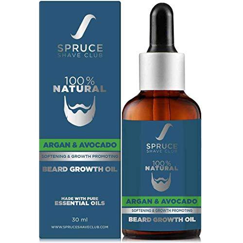 Spruce Shave Club Advanced Beard Growth Oil | With Avocado, Argan & 8 Essential Oils | 100% Natural Beard Oil