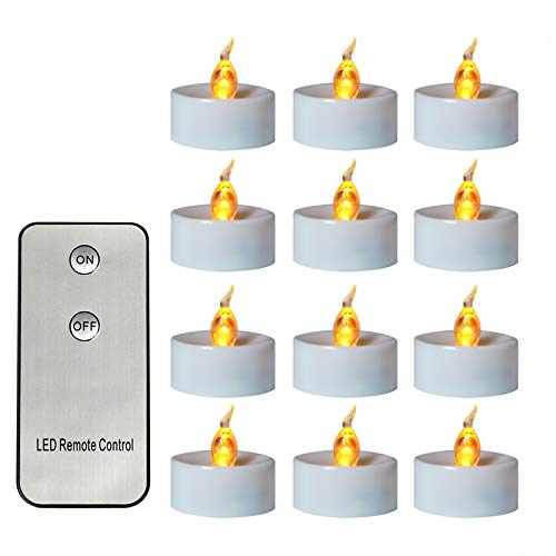 Odeal 12Pcs Remote Control Tea Lights Flickering, Long Lasting Battery Operated LED Candles for Home Decor Cold White Light