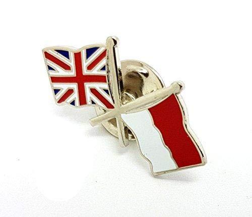 Anstecknadel für Freundschaftsflagge UK Indonesien, doppelt gekreuzt, gemischte Nationalflaggen, Metall, Emaille, Revers-Brosche