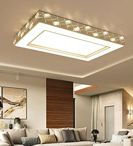 Lámpara de techo para sala de estar LED diseño rectangular, regulable con mando a distancia, lámpara de araña de cristal dormitorio, Ø96 * 63cm, candelabro blanco para comedor, estudio, iluminación
