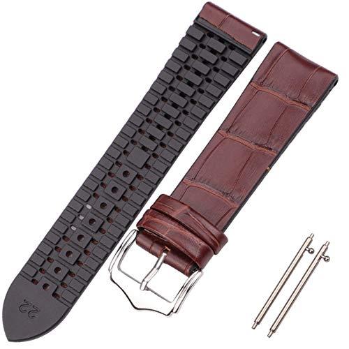 KAAGGF Correa de reloj de piel de vaca y silicona 18 20 22 mm para hombres y mujeres, impermeable, transpirable, accesorios de reloj (color de la correa: marrón, ancho de la correa: 18 mm)