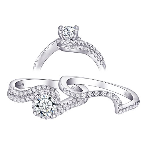Newshe Jewellery Wedding Rings for Women Engagement Ring Set 925 Sterling Silver Round White AAA Cz 1.2ct Size 6