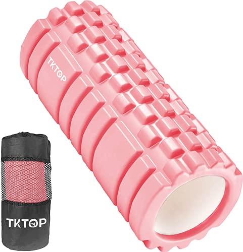 TKTOP フォームローラー 筋膜リリース グリッドフォームローラー トレーニング ヨガポール ストレッチ器具 スポーツ フィットネス 日本語説明書付 収納バッグ