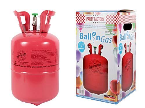 Trend-world - Botella de helio puro para inflar 30 globos de látex de 20 cm, Helium para boda, fiesta de cumpleaños o adulto infantil, kit de helio único para uso único