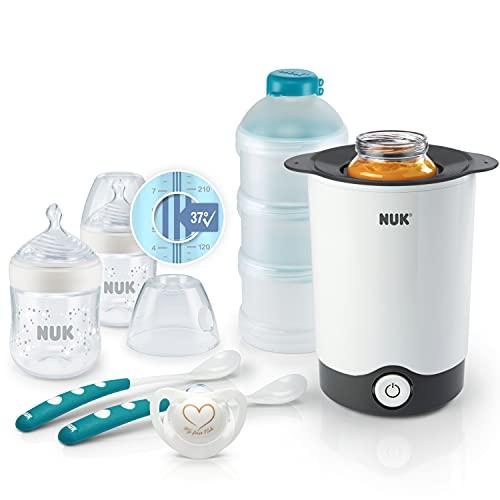 NUK Nature Sense Perfect Starter Babyflaschen Set   2 (150 ml, 0-6M) Anti-Kolik Flasche mit Temperature Control Anzeige, Schnuller, Flaschenwärmer, 2 Fütterlöffel & Milchpulverportionierer   7 Stück