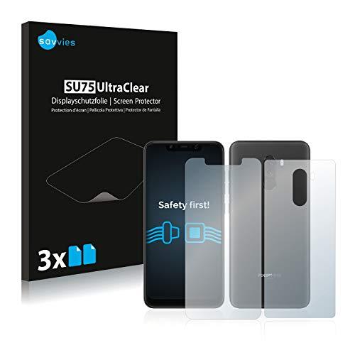 savvies 6-Pezzi Pellicola Protettiva Compatibile con Xiaomi Pocophone F1 (Anteriore + Posteriore) Protezione Schermo Trasparente
