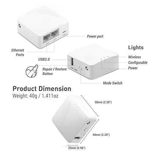 GL.iNet GL-AR150 (Weiß) Mini-VPN-Reiserouter, Wi-Fi-Konverter, mobiler Hotspot für unterwegs, vorinstalliertes OpenWrt, Repeater-Bridge, drahtloses 150 Mbps Hochleistung,Programmierbares IoT Gateway