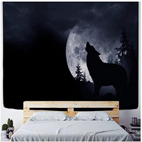 Tapiz by BD-Boombdl Tapiz negro Lobo Luna Fondo colgante de pared Lobo solitario aullando tapiz...