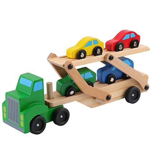NUOBESTY Auto Carrier Loader Speelgoed Houten Dubbellaags Truck Cars Speelgoed Transport Voertuig Speelgoed Ontwikkeling Speelgoed Gift voor Peuter Kinderen Kids (Willekeurige Kleur)