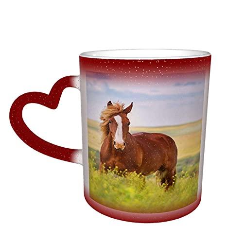 MENYUAN Taza de café hermoso patrón de caballo mágico sensible al calor color cambiante taza en el cielo tazas de café regalos personalizados para los amantes de la familia amigos