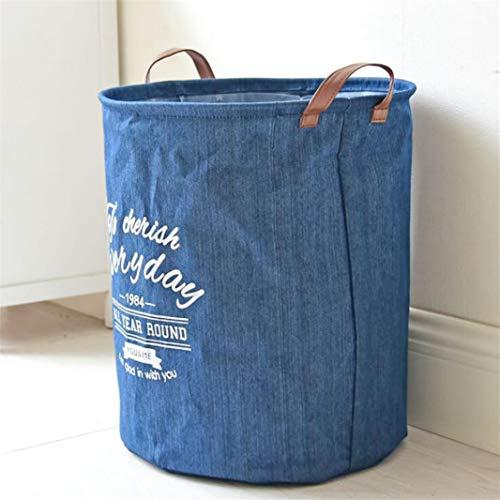 ZHDXW - Cesta de lavandería plegable de tela vaquera de 17 pulgadas, cilíndrico, para el hogar, cuarto de baño, plegable, cesta de almacenamiento de la cocina con asa