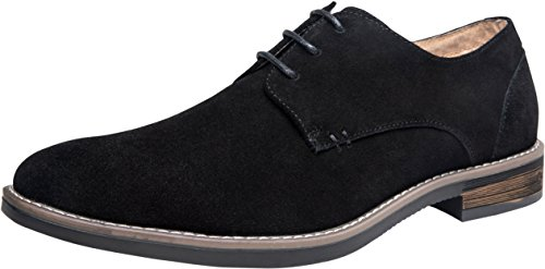 JOUSEN Men's Oxford Leather Suede Dress Shoes Classic Casual Derby Formal Shoes (10,Leather Suede-607-Black)