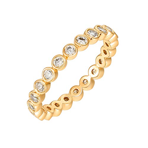 PAVOI 14K Yellow Gold Plated Rings Cubic Zirconia Love Ring | 2.8mm Stackable Rings for Women | Yellow Gold Rings for Women Size 7