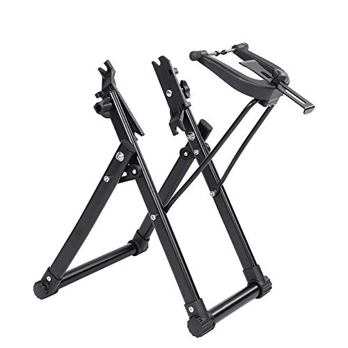 Professional Bicycle Cycling Wheel Truing Stand Rack, Stable Aluminum Alloy Mountain Bike Race Bike Bicycle Wheel Truing Rack, Universal 16-29Inch Folding Bike Wheel Repair Adjustment Maintenance Rack