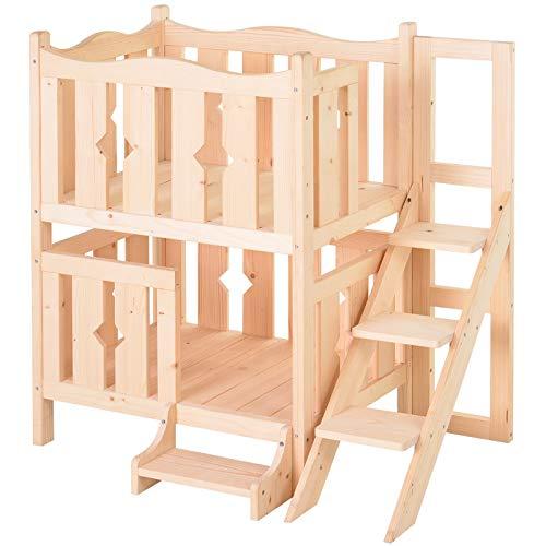 Pawhut Katzenbett mit Treppe, 2-stöckiges Haustierbett, Indoor Katzenhaus, Welpenbett, Katzenbett, Natur, 82 x 46 x 86 cm