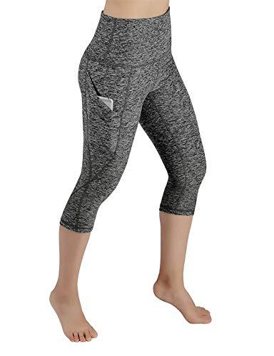 Fliegend Damen 3/4 Leggings High Waist Yoga Hose Jogginghose Mit Taschen Push Up Fitnesshose Frauen Leggins Sporthose Laufenhose Workout Gym Skinny Hosen S