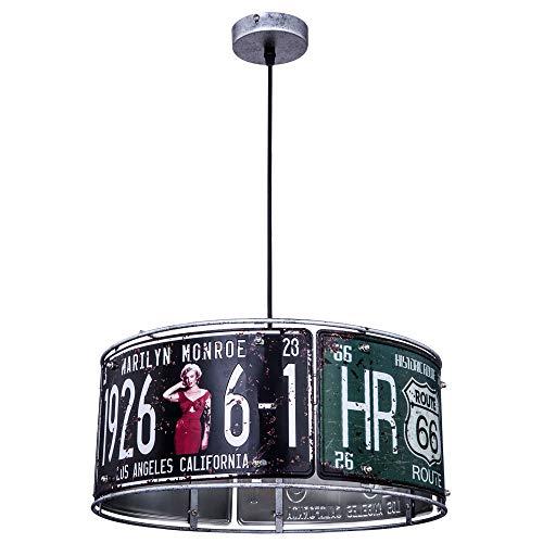 Retro Hänge Lampe USA Nummernschild Route 66 Monroe Dekor Decken Pendel Leuchte Globo 15396H1