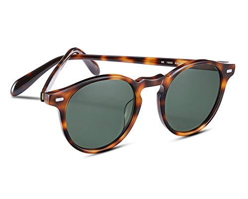 EyeGlow Occhiali da sole rotondi vintage Occhiali da sole da donna Occhiali da uomo con lenti polarizzate S5187 (tartaruga verde)