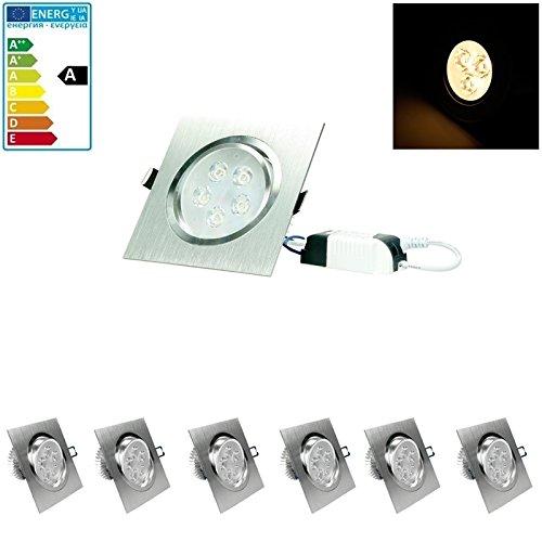 ECD Germany 6-er Pack LED Einbaustrahler 5W 230V - Dimmbar - Eckig 120 x 120 mm - 339 Lumen - Warmweiß 3000K - schwenkbar 30° - IP44 - Einbauleuchte Leuchtmittel Lampe Spot
