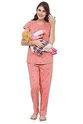 ZEYO Womens Cotton Blue & Peach Feeding Night Suit,Floral Print Nursing Night Dress