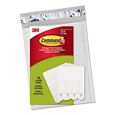 Command Picture Hanging Strips, Large, White, 14-Pairs - Easy to Open Packaging