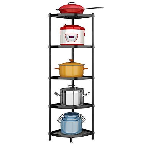 Winterworm 5-Tier Metal Corner ShelfBlack Carbon Steel Kitchen Corner Shelf Pot Storage Rack for Home Office Kitchen Organizer