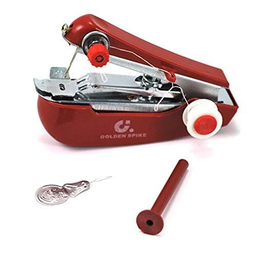 Libertroy Máquina de Coser de Mano portátil Mini Telas para Ropa de Mano Costura Máquina de Coser Manual Viaje o hogar - Rojo