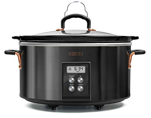 CRUX 6-Quart Programmable Digital Slow Cooker with 20 Hour Digital Countdown Timer, Black