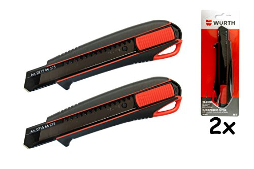Würth 2x 2K Cutter-Messer mit Schieber incl. 3 Klingen