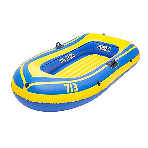 QSs- Juego de excursión Inflable para Kayak para 2 Personas con remos de plástico y una Potente Bomba de Aire para los Pescadores y Atletas recreativos