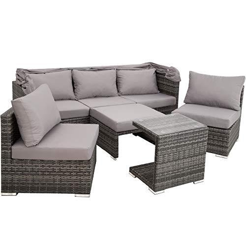 TecTake 800771 Aluminium Poly Rattan Lounge Set, 16-teilig, wetterfest, Garten Sofa mit Sonnendach, Outdoor Sitzgruppe inkl. Kissen und Beistelltisch - Diverse Farben - (Grau | Nr. 403237) - 3