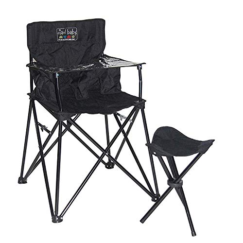 ciao! baby Portable High Chair for Babies and Toddlers, Fold Up Outdoor Travel Seat with Tray and Carry Bag for Camping, Picnics, Beach Days, Sporting Events, and More (Limited Time Bundle in Black)