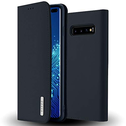 Radoo Galaxy S10 Plus Hülle, Premium Echtes Leder Klapphülle Slim Lederhülle TPU Innenraum Hülle Schlanke Ledertasche Handyhülle für Samsung Galaxy S10 Plus (Blau)