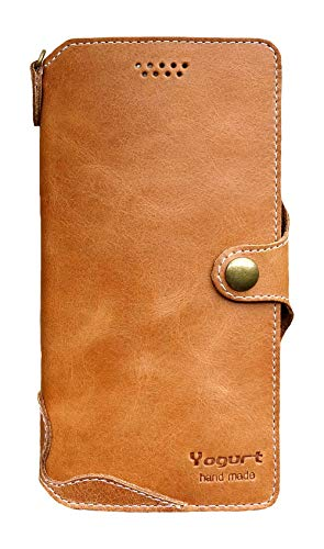 Yogurt for iPhone SE Case 2020, for iPhone 8 Case, for iPhone 7 Case Genuine Leather Wallet Handmade Brown