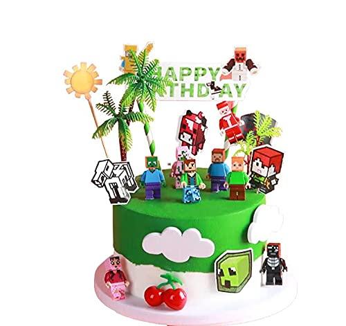 Minecraftes Cake Topper Mini Juego de Figuras Niños Minecraftes Mini Juguetes Baby Shower Fiesta de cumpleaños Pastel Decoración Suministros