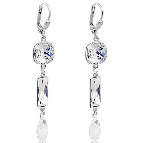 Ohrringe Ohrhänger mit Kristallen von Swarovski® Silber Damen NOBEL SCHMUCK