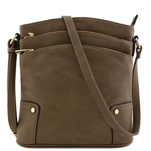 Triple Zip Pocket Large Crossbody Bag (Dark Taupe)
