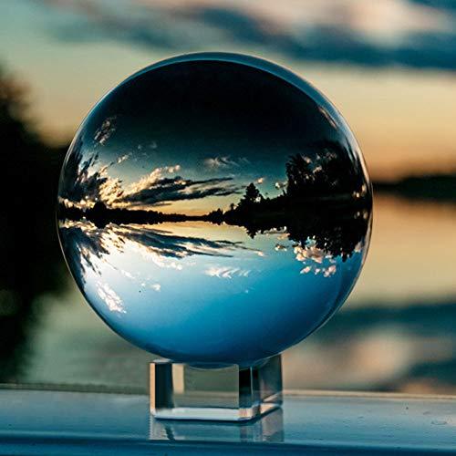 IZSUZEE K9 Sfera di Cristallo 100mm, Trasparente Lensball Palla di Vetro con Supporto, Fotografia Accessori Soprammobili Natalizi Decorazioni per La Casa, Lens Ball per Meditazione e Guarigione