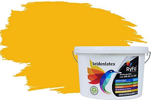 RyFo Colors Seidenlatex Trend Gelbtöne Sonnengelb 12,5l - bunte Innenfarbe, weitere Gelb Farbtöne und Größen erhältlich, Deckkraft Klasse 1