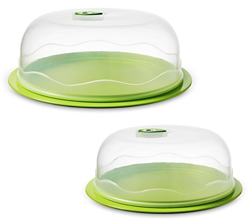 Ozeri INSTAVAC Ready-Serve Domed Food Storage Container, BPA-Free 4-Piece Nesting Set with Vacuum Seal, 10.25' and 12.25', Green