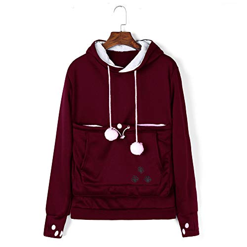 LUCKGXY Mewgaroo Holder Hoodie, Pet Carriers Pullover Känguru Pouch Cute Long Sleeve Sweatshirt für Katzenhund und andere kleine Tiere,Red,L