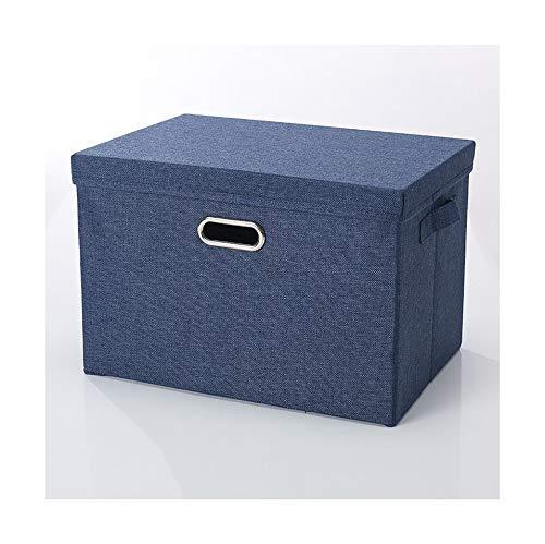 Contenedores de almacenamiento plegables con tapa, organizador de tela, cubo para el hogar, dormitorio, armario, oficina, guardería, azul 32 × 24 × 18 cm