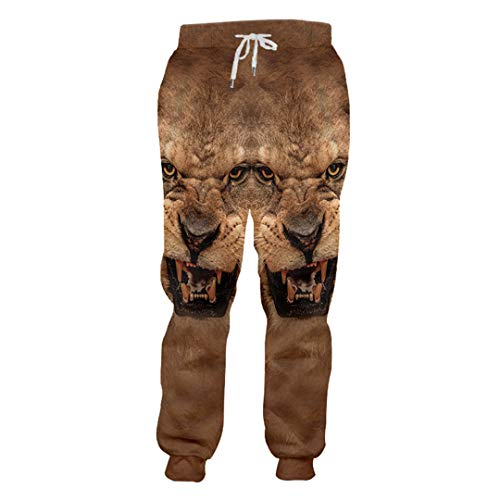 Pantalones otoño Homme Brown 3D Impresos Tigre Animal Pantalones Suel