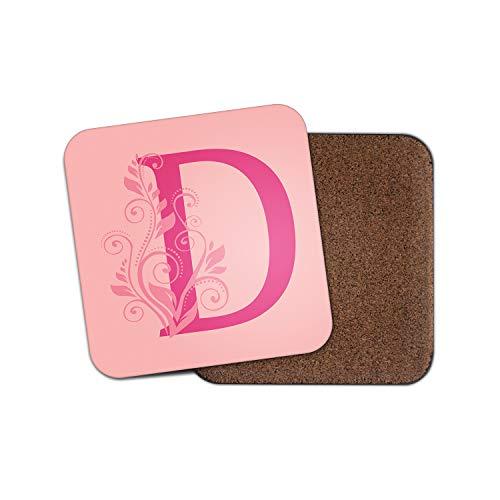 1 posavasos con inicial letra D, diseño floral rosa empolvado con nombre #29358.