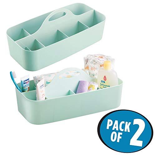 mdesign cuarto de baño cesta-11compartimentos-Organizador ducha y baño-Caja-Color: Mint-con mango de gel para ducha, champú, afeitadora