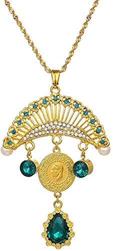 BACKZY MXJP Halskette Türkei Atatürk Anhänger Muslim Islam Halsketten Für Frauen Gold Allah Naher Osten Arabische Türkische Münzen Schmuck Kristall Ethnische Geschenke Halskette